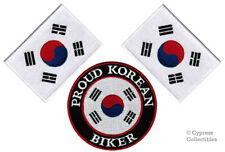 LOT of 3 PROUD KOREAN BIKER PATCH SOUTH KOREA FLAG new embroidered iron-on