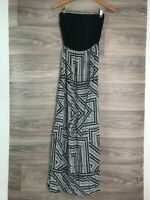 NEW LOOK BLACK WHITE STRAPLESS MAXI DRESS SIZE UK 8 9473
