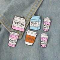 Novelty Cartoon Coffee Cup Milk Enamel Badge Collar Brooches Pin Clothes Decor