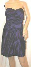 BCBG FORMAL PARTY DRESS SATIN SILKY halter crepe pleat PURPLE BUBBLE GOWN 12 XL