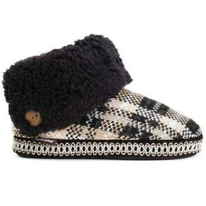 NWT Muk Luks MELINDA Oxford Tan/Black Plaid Sherpa/Sweater Slipper Boots L 9/10
