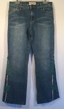 Bisou Bisou BOOTCUT Size 10 Flare Leg Jeans Teal EMBROIDERED