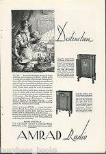 1930 AMRAD Radio advertisement, Cabinet Radios, Crosley, sculptor Cellini