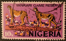 Stamp Nigeria 1973 10k Yankari Game Reserve Cheetahs Used
