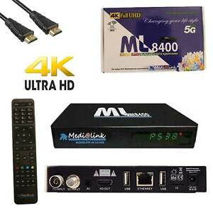 Medialink ML 8400 4K UHD DVB-S2 IPTV Miracast Sat Receiver Linux Android 5G