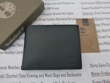TIMBERLAND Man Wallet Black Soft Leather Large Trifold Coin Wallets Boxed R£45