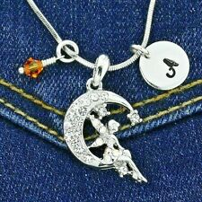 Letter Birthstone Charm Custom Necklace Tinkerbell Fairy on Moon Pendant Initial