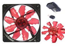 2 PZ GIOCO Demon 12cm 120mm LED Rosso Ultra Silenzioso Acrilico Ventola Per Custodia PC con viti