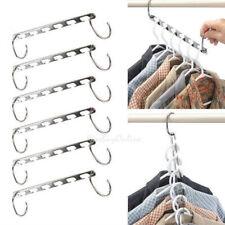 6Pcs Metal Wonder Magic Closet Hanger Organizer Hook Space Saving Clothes Rack