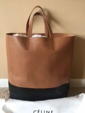 Auth CELINE Cabas GM Vertical Tote Bag Handbag Light Brown/Black Leather - 85966