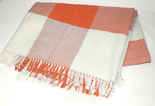 Orange and White Check Tartan Picnic Rug Blanket Throw Table Cloth Fringe