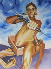 BIG LEONARD Surrealism Outsider  Painting Nude Male Young Man Centaur Bow Arrow