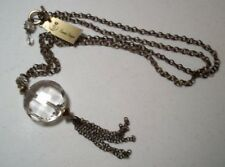 "Premier Designs Florence Necklace Antiqued Brass Clear Glass Stone 36.5"" #8921"