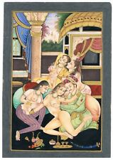 Handmade Indian Old Erotic Art Of Mughal Era On Paper Finest Detailed Artwork