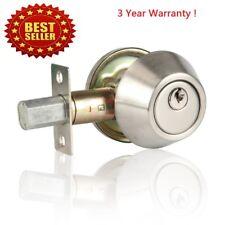 Silver Deadbolt Lock Turn knob From Inside & Keyed From Outside Dead Bolt Locks