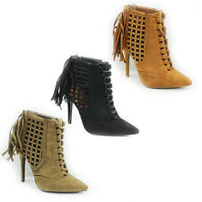 WOMENS SMART HIGH HEEL TASSEL POINTED TOE LACE UP LADIES ANKLE BOOTS SIZE 2-7