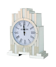 New York Mirrored Crystal Diamante Jewel Gem White Gloss Glass Mantle Clock Deco