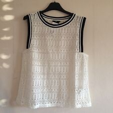 T-shirt Blusa Donna Blouson Top Camicia Top H&M S nuova Pizzo Lace Bianca huat