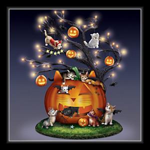 "BRADFORD EXCHANGE ""Purr-fectly Mischievous"" Illuminated Halloween Tree - New"