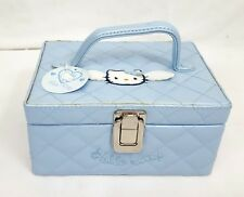 RARE Vtg 1998 Sanrio HELLO KITTY Blue ANGEL Quilted COSMETIC Vanity Makeup Bag