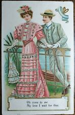 Vintage, Novelty Postcard. Oh Come to Me My Love I Wait For Thee. Embossed, Gold