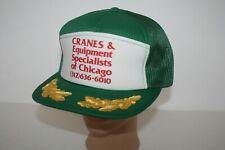 VINTAGE Cranes & Equipment Specialists of Chicago SNAPBACK TRUCKER HAT CAP GREEN