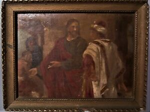 "Antique Old Master Religious Miniature Oil Painting w/ Christ 6""x4 3/4"""