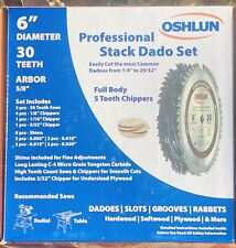 Oshlun 6-Inch 30 Tooth Stack Dado Set with 5/8-Inch Arbor NEW OLD STOCK