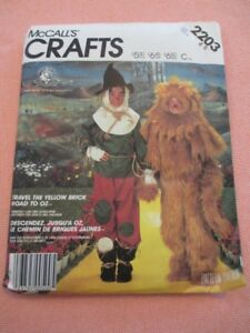 Vtg McCall's 2203 Scarecrow Lion Wizard of Oz 1985 Kid 4-6 Costume Pattern Uncut
