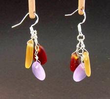 BWT- Beach Glass Pebble Earrings- SUNRISE Erg1165 Hawaiian style Sea Glass