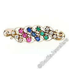 Antique Arts & Crafts 14k Gold GIA Sapphire Ruby & Emerald Swirl Leaf Brooch Pin