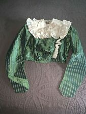 Antique C1890 Green + White Silk Striped Ladies Bodice White Silk Ruffle Trim