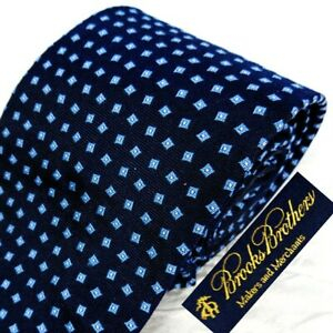 BROOKS BROTHERS Blue Wvn England Silk Neck Tie Blue Squares Silver Dots Skinny