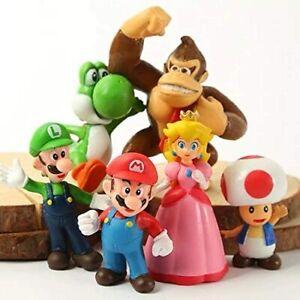 AU 6PCS Super Mario Bros Luigi Yoshi Action Figures Cake Topper Toys Kids Gift