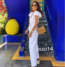 ZARA NEW WOMAN RUSTIC JUMPSUIT RUFFLED SLEEVES BELT V-NECK WHITE XS-XL 6315/003