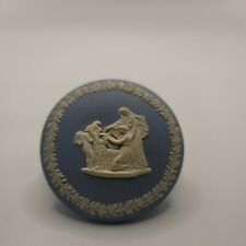 Wedgwood Jasperware Small Round Trinket Box White and Blue Art Nouveau Decor