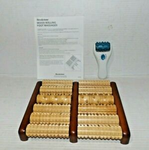 2 Brookstone Massagers 1 Wood Rolling Foot & 1 Rolling Massager. NIB