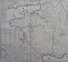 CARTE GEOGRAPHIQUE DE FRANCE ORIGINALE 1705 , CHATELAIN