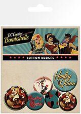 DC Comics Bombshells (Harley Quinn) pack of 6 round pin badges    (ge)