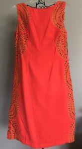 New w/ tags Chetta B Women's Size 10 Tigerlily/Gold Sleeveless Knee Length Dress
