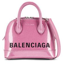 Balenciaga Ville XXS Pink Glitter Black Logo Mini Patent Handle Crossbody Bag