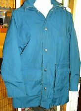 WOOLRICH BLUE PARKA MENS Sz.S WOOL LINED HOODED JACKET HIKING TRAIL CAMPING COAT