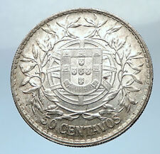 1916 PORTUGAL Antique BIG Silver 50 Centavos PORTUGUESE Coin w LIBERTY i73780