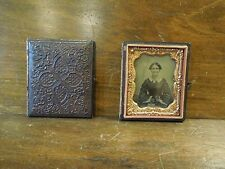 Antique Tintype Photo Case Booklet with Relief Pattern Design Portrait of Woman