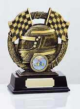 CHEQUERED FLAG & HELMET TROPHY CAR RACING AWARD 13cm FREE ENGRAVING RF9355A SS