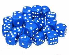 24 Blue Dice, (six sided), 16mm , D6
