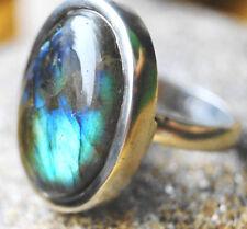 2,5 cm Silberring 59 Solitär Modern Labradorit Handarbeit Bunt Blau Silber Ring