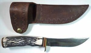 Vintage Sears Craftsman Fixed Blade Hunting Knife USA w/ Leather Sheath