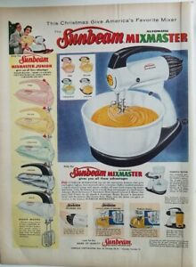 1956 Sunbeam Mixmaster and Junior electric mixer in colors vintage ad