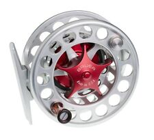 NEW BAUER SST4 CLEAR SILVER FLY REEL RED KNOB #3-5 WEIGHT FREE $85 LINE